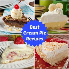 If you're looking for cream pie recipes, then you need to check this collection out! It's got lots of banana cream pie recipes, chocolate cream pies, and more!