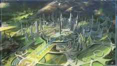 Environment design portraying a possible urbanisation for tomorrowland& movie. Update with more images from the project Fantasy City, Fantasy Places, Fantasy World, Futuristic City, Futuristic Architecture, Fantasy Landscape, Landscape Art, Sci Fi City, Science Fiction Art