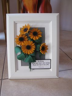 Quilled sunflowers. Made by using very thin strips of paper (between 1-2 mm).