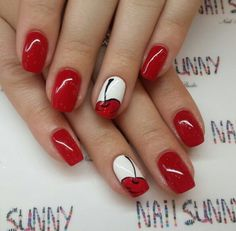 Fantastica nailart Image shared by Mary. Find images and videos about red, nails and nailart on We Heart It - the app to get lost in what you love. Cherry Nail Art, Red Nail Art, Red Nails, Pastel Nails, Bling Nails, Nail Art Designs Videos, Nail Designs, Love Nails, Pretty Nails