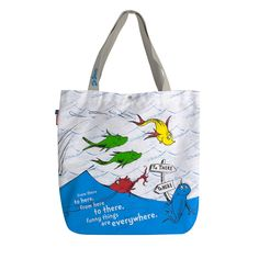 Reversible Tote Bag has Multiple uses, Light-Weight Strong, Durable for Everyday use Dr Seuss One Fish Two Fish Canvas Fabric, Cotton Canvas, One Fish Two Fish, Reversible Tote Bag, Kids Lighting, Little People, Reusable Tote Bags, Strong, Funny