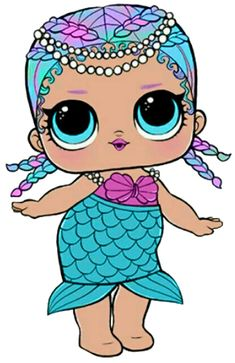 lol doll svg file (merbaby) by Sweetcreationsxoxo on Etsy Lol Doll Cake, Hello Kitty, Doll Party, 6th Birthday Parties, Lol Dolls, Voodoo, Easy Drawings, Cute Cartoon, Paper Dolls