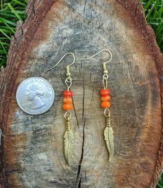 Bohemian Gold Feather Dangle Earrings- Orange