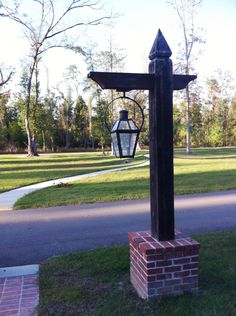New Landscaping Driveway Entrance Posts Ideas You are in the right place about Diy Lamp Post base He Driveway Light Post, Driveway Lighting, Entrance Lighting, Entrance Ideas, Driveway Posts, Outdoor Lamp Posts, Outdoor Post Lights, Outdoor Lighting, Lighting Ideas