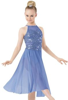 """Light Blue Sequined Bodice with Stretch Mesh Insets and Skirt - """"Seven Shades of Blue"""""""