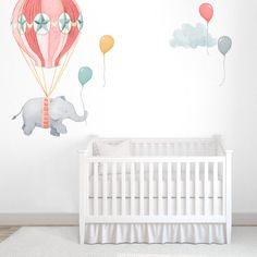 Balloon Elephant Fabric Wall Decal Nursery by ShopMejMej on Etsy