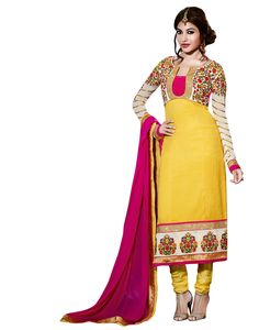 Georgette Jacquard Embroidery Yellow coloured Silk Designer Anarkali Salwar Kameez