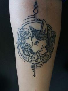 the tattoo i designed of my husky,  Bella.