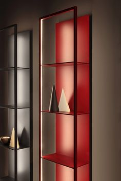 Shades of Red by Porro Plywood Furniture, Folding Furniture, Home Decor Furniture, Furniture Design, Shelving Design, Shelf Design, Cabinet Design, Modern Shelving, Bar Design