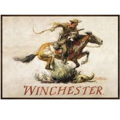 """This famous Winchester """"Horse & Rider"""" by Phillip R. Goodwin is a door mat/area rug. Being colorful and functional, this mat is also water-resistant with 100% polyester fiber on PE core with durable, bound edges on TPE slip-resistant backing."""
