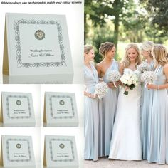 Silver wedding invitations with embellishment for a silver wedding colour scheme.