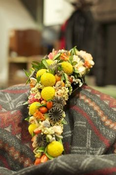 My work bridal bouquet with craspedia, yellow, orange