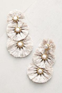 Anthropologie Fringed Pearl Drop Earrings