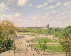 """The Garden of the Tuileries on a spring morning"" (1889) By Camille Pissarro (French, 1830-1903) oil on canvas; 73.3 x 92.1 cm; 28 7/8 x 36 1/4 in  Place of creation: at or near Pontoise, France (Pontoise is 28.4 km (17.6 mi) from the center of Paris) © The Metropolitan Museum of Art, New York"