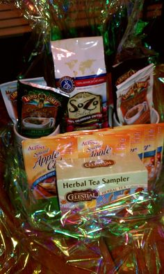 Hot Drink Basket  Coffee, Herbal Tea, Hot Chocolate, Apple Cider with 2 Mugs on a Tray for the Michael Kolich Fundraiser