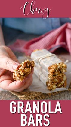 Homemade Granola Bars: So chewy and wholesome! Easy, no-bake recipe that's infin… Homemade Granola Bars: So chewy and wholesome! Easy, no-bake recipe that's infinitely customizable. Vegan Granola Bars, No Bake Granola Bars, Homemade Granola Bars, Homemade Energy Bars, Homemade Kind Bars, No Bake Oatmeal Bars, Easy Snacks, Healthy Snacks, Healthy Recipes