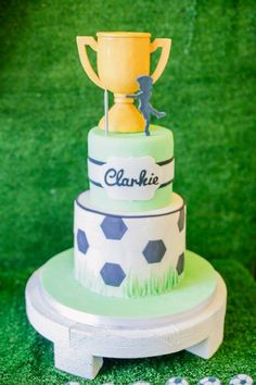 Clarkie's Soccer Themed Party – Cake Soccer Cup, Soccer Party, Party Themes, Party Ideas, Football Themes, Party Tableware, Party Cakes, Pastries, Party Supplies