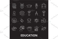 Outline Illustration, Certificate Templates, Line Icon, Black Backgrounds, Symbols, Education, Onderwijs, Learning, Glyphs