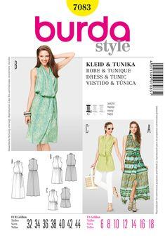 b48adf2e72b Burda Misses Dress and Tunic 7083 Burda Sewing Patterns, Clothing Patterns,  Dress Patterns,
