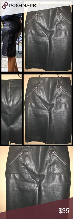 Zara Leather pencil skirt Worn once (just for photos) XL Zara leather pencil skirt with zip up back excellent condition. Zara Skirts Midi
