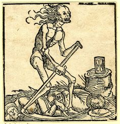 Death; holding a scythe, standing to right; an hourglass on a tree stump at right; the body of two men on the ground; woodcut illustration from the title-page to 'Ein Kampfgesprech zwischen dem Todt und dem Natürlichen Leben'. ~ Woodcut made by Anonymous, Printed by Hans Wandereisen, Nuremberg, Germany, 1538.