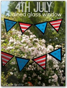 4th July stained glass window bunting