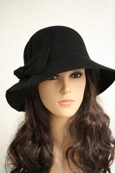 d3a232c1a90 Black winter hat Gray Wool Felt Fedora Hat - Women ( 302948-910-35)