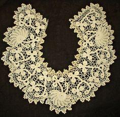 Vintage 1900's Irish Crochet Lace Dress Collar Floral Motif - The Gatherings Antique Vintage