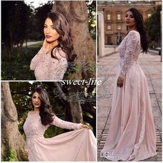 Elie Saab 2016 Blush Prom Dresses A-Line Bateau Lace Floor Length Chiffon Cheap Plus Size Long Sleeve Formal Evening Dress Gowns for Pageant Online with $116.02/Piece on Sweet-life\'s Store | DHgate.com