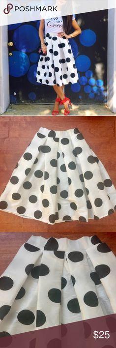 "t+j Designs Polka Dot Midi Skirt New WithOut Tags. Impulse buy. Never worn. Taffeta-like material, waist with a bit stretch. Very flowy. Measured flat: 13-15"" waist, 26"" length. t+j designs Skirts Midi"
