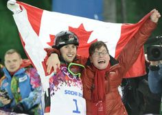 Alex Bilodeau of Canada celebrates his gold medal in men's moguls with his brother Frederic. Alex stole America's hearts when he describes his close relationship with his brother who has cerebral palsy.