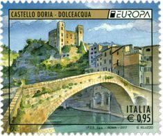 Francobollo celebrativo di Europa 2017. il Castello Doria che svetta sull'antico borgo di Dolceacqua, con in primo piano il Ponte Vecchio sul Nervia.