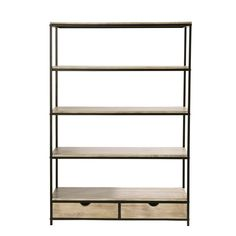 Solid Fir and Metal Industrial Shelf Unit Long Island