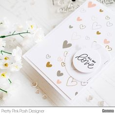 The new Love Sentiments set from Pretty Pink Posh has some lovely hearts in various styles and sizes. I thought they would make a great background to accompany a sentiment from the same set. I stam…