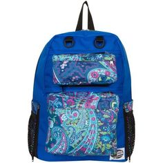 Tinsley Royal Blue Backpack with Blue Paisley Pockets