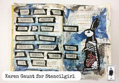 StencilGirl Talk: Karen Gaunt's Halloween Altered Book Journal Spread