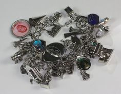 Vintage Charm Bracelet 28 Charms Sterling and by PastSplendors, $149.00
