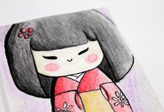 Kokeshi Doll - Original ACEO Watercolor