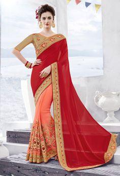 Red,Light #Pink Georgette Half N #Half #Saree #nikvik  #usa #designer #australia #canada #freeshipping #fashion #dress #sarees #sale