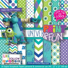 Monsters University Digital paper Patterns Background por Printnfun, €3.00 #digitalpaper #patterns #party #printables #imprimibles #invitations #clipart #desserttable #sweettable #candybar #monstersuniversity #sulley #monsters