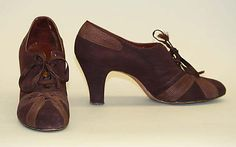 "Leather and silk high-heeled oxfords by I. Miller, American, 1930's. Label: ""I. Miller Sons, Inc., New York"""