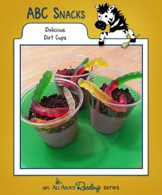 D is for Delicious Dirt Cups: This snack may look like dirt, but it tastes delicious. Find all our snacks at abc-snacks.com.