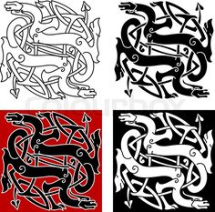 Stock vector of 'Celtic dragons knot pattern with medieval stylized totem animals, adorned by tribal decorative elements, for tattoo or t-shirt design'