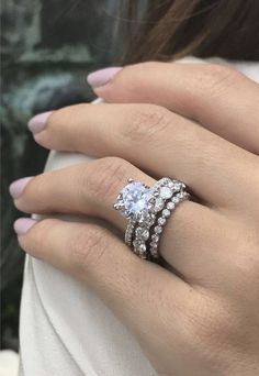 The Goddess Collection, Three Stacking Rings with 7TCW Russian Lab Diamonds