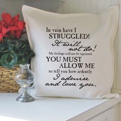 Mr Darcy's proposal cotton pillow cover by BookFiend on Etsy, $22.00
