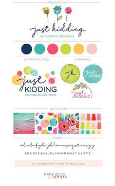 Paquete de marca de acuarela kit de marca de logotipo de   Etsy Kids Packaging, Brand Packaging, Logo Branding, Branding Design, Colores Hex, Watercolor Branding, Color Palette Challenge, Web Design, Event Logo