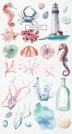SEA TREASURES Watercolor set by Lemaris on @creativemarket