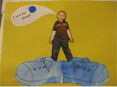 """I love my ____ shoes"" Pete the Cat writing prompt. Looks like they used watercolors on the shoes!  This is adorable!!"