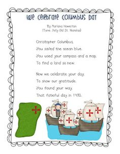 Help your students learn about the famous explorer, Christopher Columbus with this fun, free song! We Celebrate Columbus Day Song (Color and Black/White) Blessings, Marlana Lil' Country Kindergarten. Kindergarten Poetry, Kindergarten Social Studies, Teaching Social Studies, Kindergarten Teachers, Christopher Columbus Song, Chris Columbus, Happy Columbus Day, Holiday Activities, Art Activities