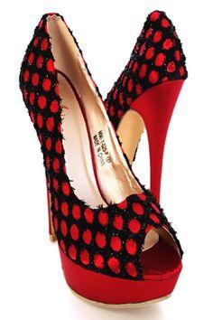 Red Tinsel Spotted Peep Toe Platform Pump Heels
